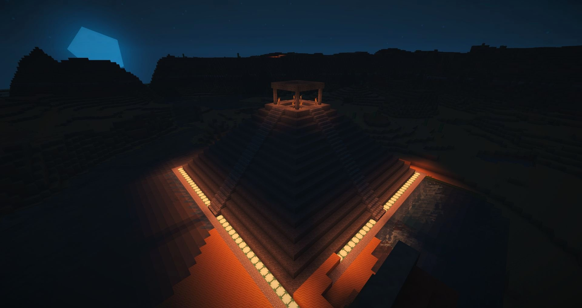 Mayan Temple after dark