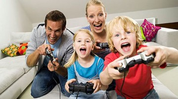 Parents gaming with kids
